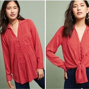 Anthropologie Maeve red polka dot button up blouse
